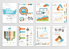 Big Set of Infographics Elements Business Illustrations, Flyer, Presentation. Modern Info Graphics and Social Media Marketing. Infographyc Pages Template Royalty Free Stock Photos