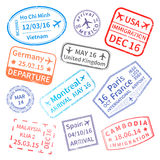 Big set of International travel visa stamps on white. Stock Image