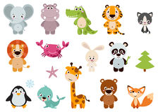 Big set isolated animals. Vector collection funny animals. Stock Images