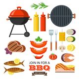Barbecue set. Colorful clipart. Meat, fish, vegetables, grill. I. Big set isolated clipart barbecue and grill.  Meat and fish products, grill, vegetables and Royalty Free Stock Image