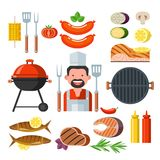 Barbecue set. Colorful clipart. Meat, fish, vegetables, grill. C. Big set isolated clipart barbecue and grill.  Meat and fish products, grill, vegetables and Royalty Free Stock Photos