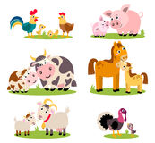 Big set isolated farm birds, animals. Vector collection funny animals, mothers and their children. Royalty Free Stock Photography