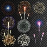Big set of isolated vector fireworks on transparent background. Big set of isolated fireworks on transparent background royalty free illustration