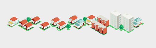 Big set isometric building, vector city Royalty Free Stock Photography