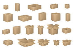 Big Set of isometric cardboard boxes on white. Carton box Organized by layers. Vector illustration of packaging. Big Set of isometric cardboard boxes on white royalty free illustration