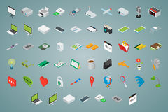 Big set of isometric volumetric icons Royalty Free Stock Photo