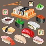 Big set of Japan Asian kitchen sushi icons. Vector illustration Stock Photos