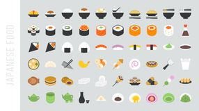 Big set of japanese food and beverage. Flat icon, sushi and dessert Royalty Free Stock Photos