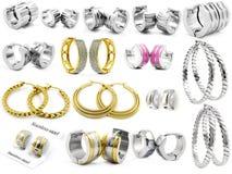Big set jewel mix - Earrings Royalty Free Stock Photography