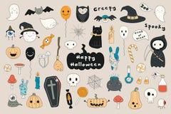 Kawaii Halloween set vector illustration
