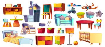 Big set of kids furniture and toys. Big set of wooden furniture, soft toys and accessories for children room, bedroom cartoon vector illustrations isolated on vector illustration