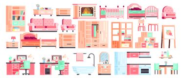 Big set kit collection vector isolated icons of furniture for bathroom interior. Big set kit collection vector isolated icons of furniture for bathroom interior Stock Photos