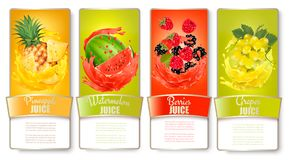 Big set of labels with fruit in juice splash. Pineapple Royalty Free Stock Photo