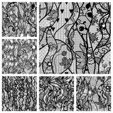 Big set of lace vector fabric seamless patterns. Stock Photo