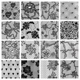 Big set of lace vector fabric seamless patterns. Royalty Free Stock Images