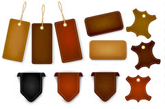 Big set of leather labels and tags. Vector. Royalty Free Stock Photos