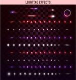 Big set of lighting  effects. Magic, bright stars Stock Image