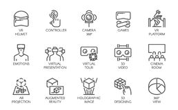 Big set of line icons of augmented reality digital AR technology future. 15 vector labels isolated on a white background. Big set of line icons of augmented Stock Image