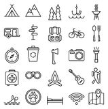 Big set linear icon camping and tourism Royalty Free Stock Photography