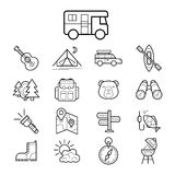 Big set linear icon camping and tourism vector. Illustration Stock Image