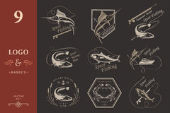 Big Set of Logos, Badges and Icons Spearfishing Royalty Free Stock Photo
