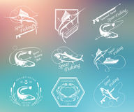 Big Set of Logos, Badges and Icons Spearfishing. Big set of logos, badges, stickers and prints spearfishing  on blur background. Premium  label for spearfishing Royalty Free Stock Images