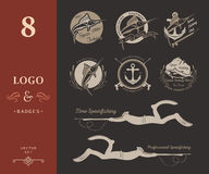 Big Set of Logos, Badges and Icons Spearfishing Royalty Free Stock Images