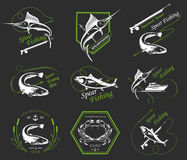 Big Set of Logos, Badges and Icons Spearfishing. Big set of logos, badges, stickers and prints spearfishing isolated. Premium  label for spearfishing and Royalty Free Stock Photo