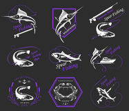 Big Set of Logos, Badges and Icons Spearfishing. Big set of logos, badges, stickers and prints spearfishing isolated. Premium  label for spearfishing and Royalty Free Stock Photography