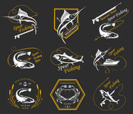 Big Set of Logos, Badges and Icons Spearfishing. Big set of logos, badges, stickers and prints spearfishing isolated. Premium  label for spearfishing and Royalty Free Stock Photos
