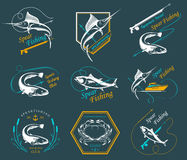 Big Set of Logos, Badges and Icons Spearfishing. Big set of logos, badges, stickers and prints spearfishing isolated on white background. Premium  label for Stock Photos