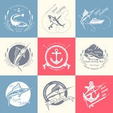 Big Set of Logos, Badges and Icons Spearfishing Stock Image
