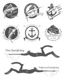 Big Set of Logos, Badges and Icons Spearfishing Royalty Free Stock Photography
