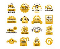 Big set of logos on the theme of construction. Building machinery, transport, professional equipment and tools. Asphalt royalty free illustration