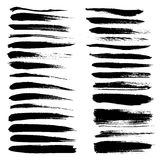 Big set of long texture of dry brush strokes Stock Image