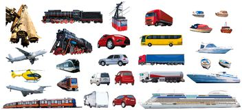Big set of machines. And transport isolated on white Stock Image