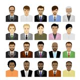 Big Set male faces of different races,avatar or icon. Isolated on white background, vector illustration Stock Photo