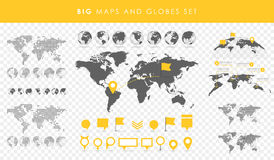 Big set of maps and globes. Pins collection. Different effects. Transparent Vector illustration Stock Photography