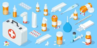 Big set of medical equipment and pharmacy. First Aid Kit. Isometric vector illustration.  Stock Photography