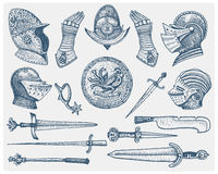 Big set medieval symbols, Helmet and gloves, shield with dragon and sword, knife and mace, spur vintage, engraved hand Stock Photos