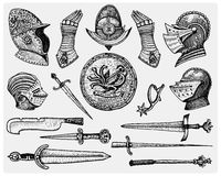 Big set medieval symbols, Helmet and gloves, shield with dragon and sword, knife and mace, spur vintage, engraved hand Stock Photography