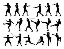 Big set of men fighting silhouettes. Big set of black silhouettes of white men practicing martial art in different postures Royalty Free Stock Images