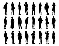 Big set of men and women standing silhouettes 1 Stock Photography