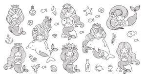 Big set of mermaids for coloring book. stock illustration