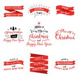 Big set of Merry Christmas and Happy New Year badges and banners in flat design style. Vector illustration collection Royalty Free Stock Photo