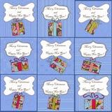 Big set of mini christmas cards Stock Image