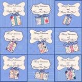 Big set of mini christmas cards Royalty Free Stock Photography