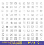 Big Set of 100 minimal geometric monochrome shapes Stock Images