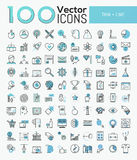 Big set of 100 modern icons in thin line style. Business, finance, sports, online education, global communication, internet shopping, tourism. Vector stock illustration