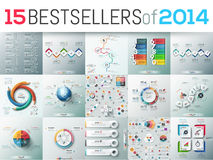 Big set of 15 modern infographic business design templates. Bestsellers of 2014, elements for diagrams, charts, schemes. Vector illustration for website Royalty Free Stock Images